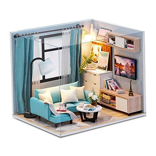 Felenny DIY Puppenhaus Miniatur mit Möbel Kit Handwerk Miniatur Haus Persönlichkeit Geschenk Geeignet für Erntedankfest Geburtstag Weihnachten