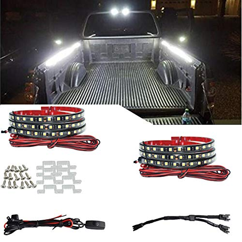 2Pcs 60 in White 180 LED Truck Bed Light Strip Kit Waterproof Lighting Lamp with On-Off Switch Fuse 2-Way Splitter Extension Cable for Cargo,Jeep Pickup, RV,SUV,RV, Boat