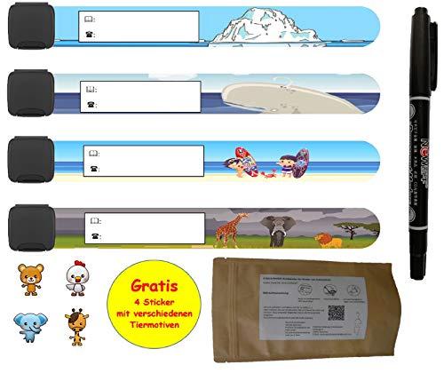 Notfall-Armband für Kinder + Stift und Gratis Sticker I 4 Stück I wasserfest I wiederverwendbar I SOS Armband zum beschriften I Sicherheitsarmband für Telefonnummer