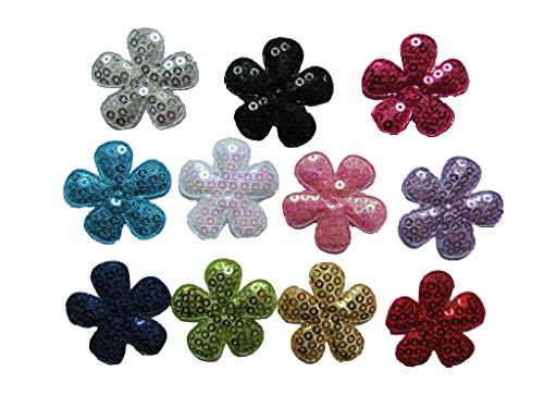 """YYCRAFT Pack Of 55 Padded Felt 1.5"""" flower w/Sequin Appliques-11 colors"""