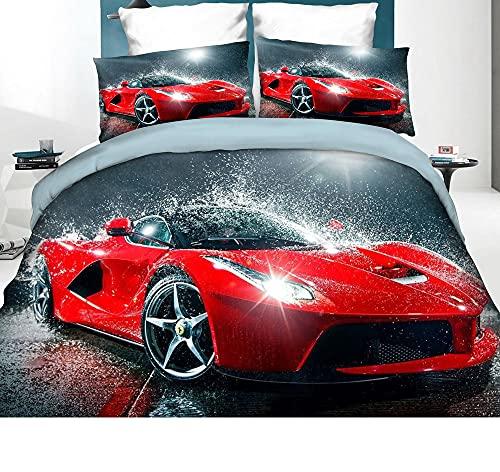 3D Bettwäsche Rotes Auto Bettbezug-Set Rennauto 135x200 + Kissenbezug 80x80 cm Rennwagen Wendebettwäsche 2 Teilig Rot Grau mit Reißveschluss