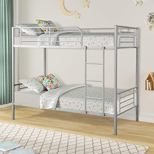 Twin Over Twin Metal Bunk Beds, Rockjame Space Saving Design Sleeping Bedroom Twin Bed with Ladder...