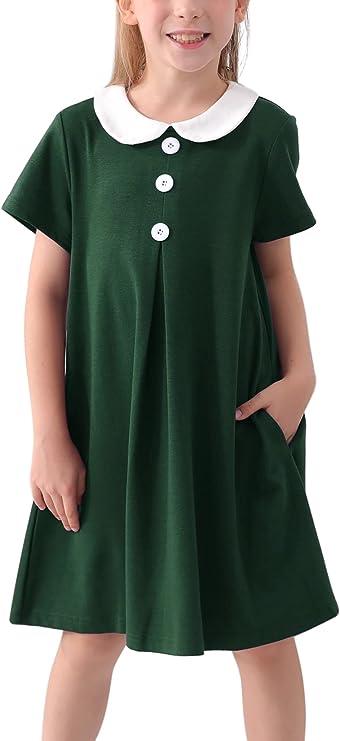 60s 70s Kids Costumes & Clothing Girls & Boys GORLYA Girls Short Sleeve Peter Pan Collar Button Placket Vintage Cotton Shift Dress for 4-14T  AT vintagedancer.com