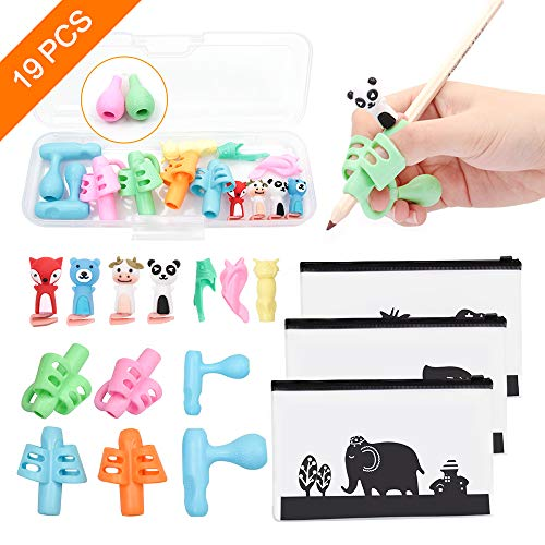 19PCS Pencil Grips,Handwriting Pencil Holder for Kids,Children Pen Writing Aid Grip Set Professional 6-Stage Posture Correction Tool,Totally 15 Pencil Grips,1 Pencil Case,3 Zipper Pencil Cases.