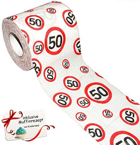 alles-meine.de GmbH 1 Rolle _ Toilettenpapier -  50. Geburtstag / Happy Birthday  - 25 m - Verkehrsschild - WC Klopapier Klopapier - lustig Klorolle große Rolle / fünfzigster -..
