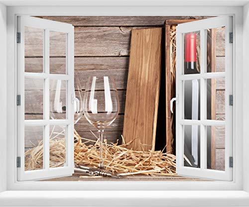 wandmotiv24 3D-Wandsticker Rotweinflasche und Weingläser, Design 03, 120x94cm (BxH), Aufkleber Wand-deko, Wandbild, 3D Effekt, Fenster, Mauer, Wandaufkleber, Sticker M0848