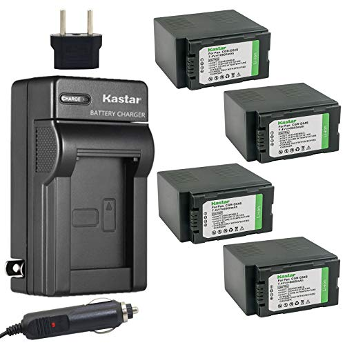Kastar 4X Battery and Charger for Panasonic CGR-D54S CGA-D54 AG-HVX200 AJ-PCS060G AJ-PX270PJ HDC-Z10000 NV-DS29 NV-DS30 NV-DS50 NV-GX7 NV-MX5 NV-MX350 NV-MX500 NV-MX1000 NV-MX2500 NV-MX5000 AG-HRX200