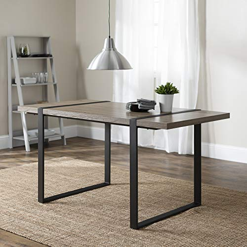 Walker Edison Furniture Company Industrial Metal Wood Rectangle Kitchen Dining Room Table, Driftwood