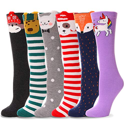 Girls Knee High Long Socks for Child 6 Pairs Fun Animal Pattern Tall Cute Crazy Boot Funny Kids Socks(Animal B,3-12 Years Old)