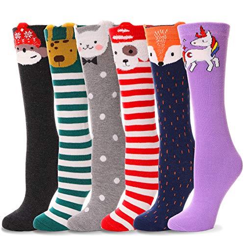 Girls Knee High Socks Tall Long Funny Boot Cute Crazy Animal Child Fun Socks For Kids 6 Pairs(Animal A)