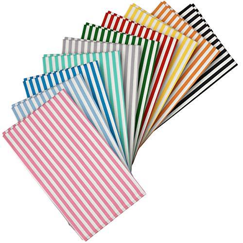 buntes Stoffpaket : 10 gestreifte Stoffe aus Baumwolle, Baumwollstoffe, Fat Quarters fürs Nähen, Quilting u. Patchwork; Größe: je 50 x 40 cm; Muster: Streifen