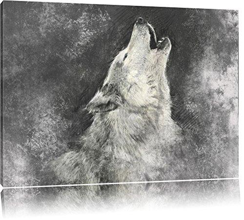Heulender Wolf Kunst Format: 60x40 auf Leinwand, XXL riesige Bilder fertig gerahmt mit Keilrahmen, Kunstdruck auf Wandbild mit Rahmen, günstiger als Gemälde oder Ölbild,...