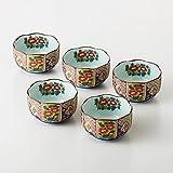 Imari Japanese Hasamiyaki Porcelain Kobachi Traditional Patterns (5 Set) 30005 from Japan