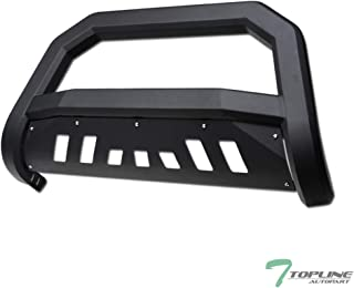 Topline Autopart Matte Black AVT Style Bull Bar Brush Push Front Bumper Grill Grille Guard With Skid Plate For 04-19 Ford F150 / 03-17 Expedition / 03-14 Lincoln Navigator / 06-08 Mark LT