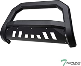 Topline Autopart Matte Black AVT Style Bull Bar Brush Push Front Bumper Grill Grille Guard With Skid Plate For 05-19 Nissan Frontier / 05-07 Pathfinder / 05-15 Xterra