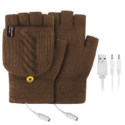 Beheizte Handschuhe, Elektrische Heizung Strickhandschuhe für Herren Damen, Touchscreen Doppelseitig beheizte Halbfingerhandschuhe mit Flip Top, Handwärmer für Skifahren,Angeln,Radfahren,Camping