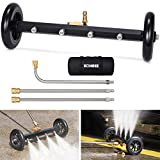 Kohree Undercarriage Pressure Washer Cleaner Attachment, 2 in 1 Underbody Car Washer Water Broom 16', Surface Cleaner for Pressure Power Washer with 3 Pcs Extension Wands 4000 PSI