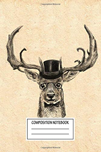 Composition Notebook: Animals Mr Deer Paws And Hooves Wide Ruled Note Book, Diary, Planner, Journal for Writing