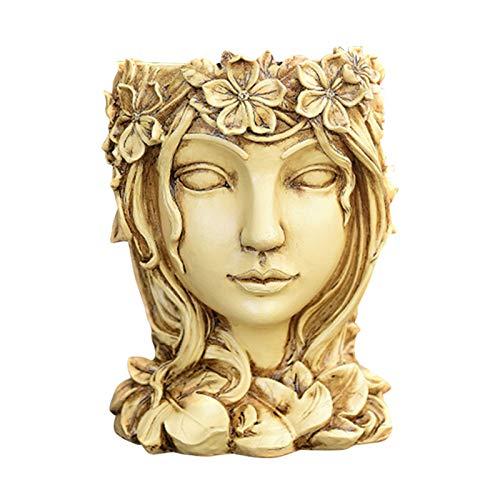 VELIHOME Vaso de resina criativo, estátua de vaso de flores da deusa suculenta, usado para decoração de interiores em casa, residencial, quarto