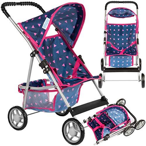 Passeggino per bambole KP0280T, carrozzina per bambole, blu marino, passeggino per bambole, moderno cestino per giocattoli, parasole e sistema di cinture