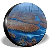 Kncsru Cubierta de la llanta Nature Forest Blue River Papel Tapiz Rueda Cubierta de la llanta Protectores de llanta de Repuesto Sol UV 17 Pulgadas