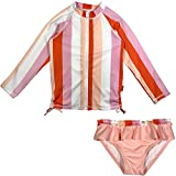 SwimZip Girl Long Sleeve Rash Guard Swimsuit Set UPF 50 Peach Stripe 5T