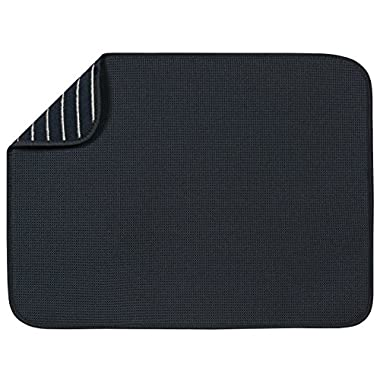 S&T XL Microfiber Dish Drying Mat, 18  x 24 , Black Mesh