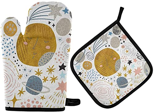 Cosmic Cute Planets Moon Stars Galaxy Milky Way Oven Mitts and Pot Holder,Non-Slip Hot Pads Heat Resistant Kitchen Set for Cooking Baking Grilling BBQ
