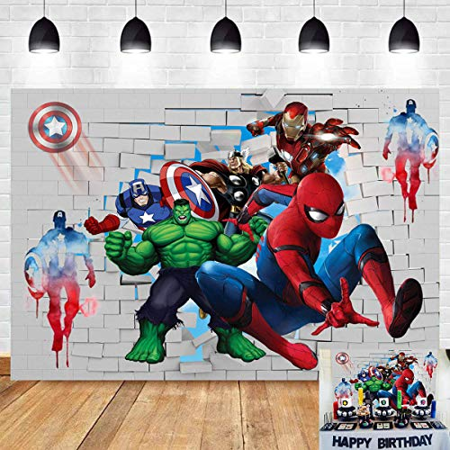 Cartoon Superhero Spiderman Theme Photography Backdrops Super City White Brick Wall Boys Kids Children Birthday Party Photo Background Baby Shower Cake Table Decoration Studio Booth Props 5x3FT