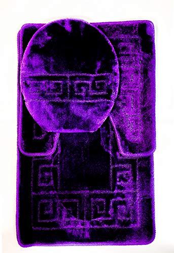 Bathroom Rugs Sets 3 Piece Bath Pattern Rug Set (20'x32')/Large Contour Mats (20'x20') with Lid Cover (Purple)