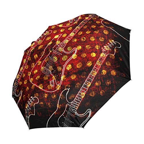 Ahomy Paraguas de viaje plegable con 3 paraguas para guitarra eléctrica, resistente...