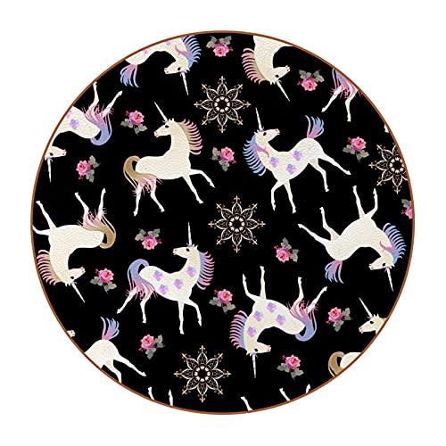 6 posavasos redondos antideslizantes para cocina, bar, restaurante, oficina, hogar, decoración misteriosa, unicornio, rosa, floral, negro
