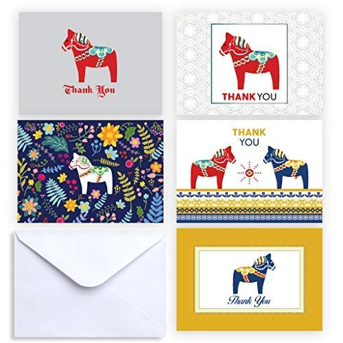 Paper Frenzy Dala Horse Collection Thank You and Note Cards with Envelopes - 25 pack