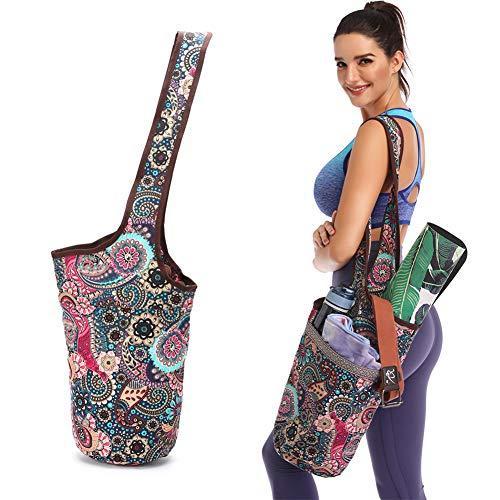 YOULERBU Yoga Mat Tas met groot formaat Pocket en Rits Zak, Yoga Carrier Sling Tas met Waterfles Houder, Gemakkelijk te dragen Past op de meeste Matten