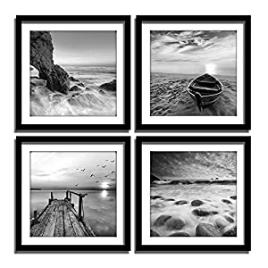 ENGLANT-4 Panels Set Framed Canvas Print for Seasc...