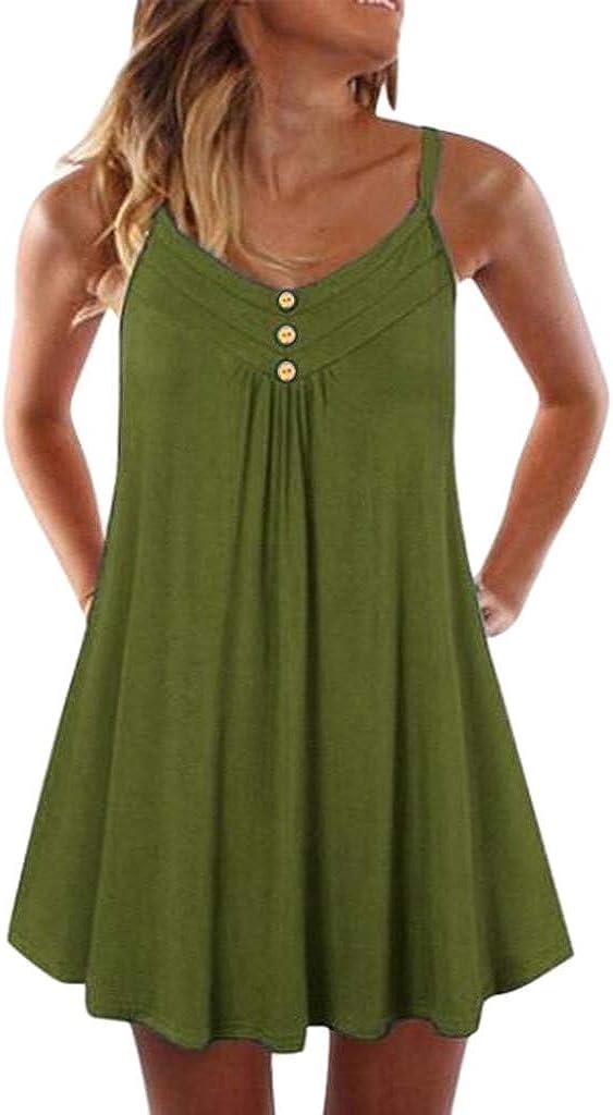 Toeava Women Dress, Womens Casual Summer Sexy Swing Dress Spaghetti Strap Solid Color Sleeveless Dress Short Mini Dress