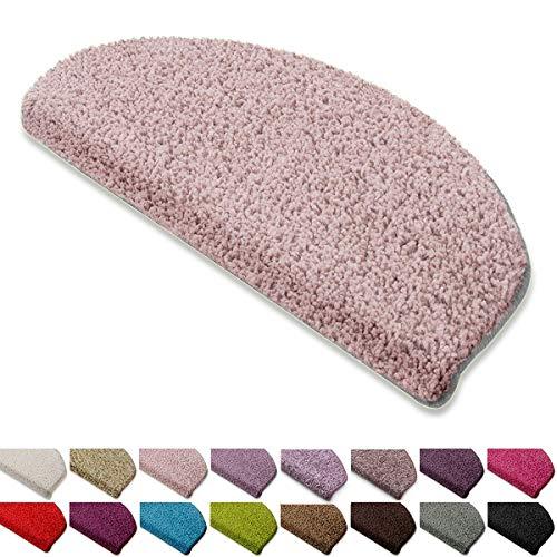 casa pura Shaggy Stufenmatten Barcelona Schutz für Treppenstufen | weicher Hochflor | GUT-Siegel und Blauer Engel | halbrund | Einzeln oder als Set | viele Farben | 15er Set | Rose