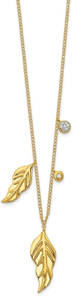 shipfree Solid 70% OFF Outlet 14k Yellow Gold Diamond Pendant Feathers Necklace Charm Ch