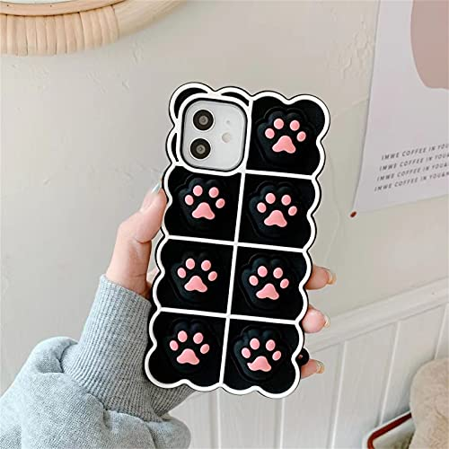Danzel Cute Case for iPhone 11 6.1', Pink Kawaii 3D Cat Paw Fun Rebound Shockproof Soft Silicone Case, for Girls Women - Black