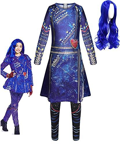 BERHANGO CostumeDescendants Filles Combinaison avec Perruque Violette Déguisement pour Halloween Cosplay Cadeau Fantaisie