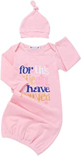 Newborn Baby Girls Nightgown Infant Pink Ruffle Long Sleeve Sleeping Bag Coming Home Outfits with Little Princess Hat