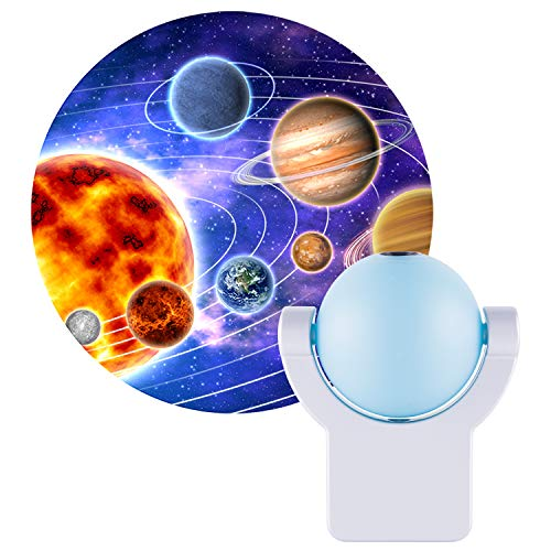 Projectables LED Space Night Light Projector, Dusk-to-Dawn Sensor, Auto On/Off, Projects Image Featuring Mercury, Venus, Earth, Mars, Saturn & Neptune on Ceiling, Wall, or Floor, Blue/Silver, 11282