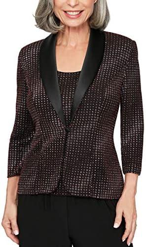 Alex Evenings Women s Jacket and Scoop Tank Top Velvet Twinset Petite Regular black Red glitter product image