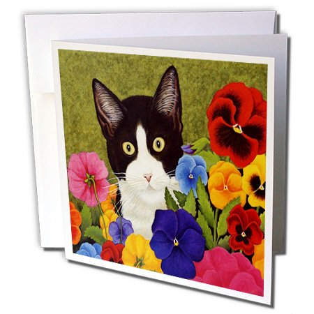 3dRose Photo Of Painting Of Tuxedo Cat Among Flowers - Greeting Cards, 6 x 6 inches, set of 6 (gc_119367_1)