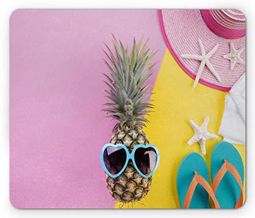 KKs-Shop Mauspad Ananas, Sommerartikel in Herzform, Sonnenbrille, Flip-Flops, Sterne bedruckt, Mauspad aus rutschfestem Gummi, rechteckig