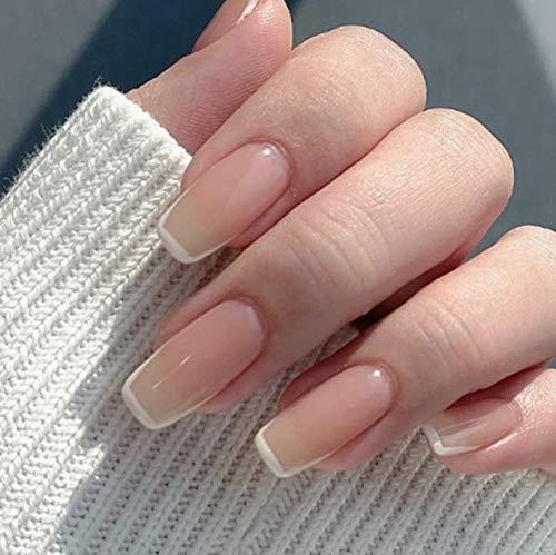 Brishow Sarg Künstliche Nägel Falsche Nägel French Kurze Pink Drücken Sie auf die Nägel Ballerina Acryl 24 Stück für Frauen und Mädchen