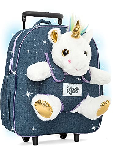 Naturally KIDS Unicorn Backpack - 3 5 Year Old Girl Gifts - Kids Suitcase for Girls Boy w Stuffed Animal - Toys for 5 7 Year Old Girls - w Pockets & Reflective Logo - Rolling Backpack w White Unicorn