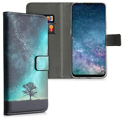 kwmobile Wallet Hülle kompatibel mit Motorola Moto E7 - Hülle mit Ständer Kartenfächer Galaxie Baum Wiese Blau Grau Schwarz