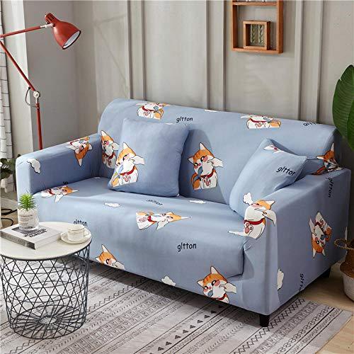 NLADTWLSD Funda de sofá de Alta Elasticidad, impresión Fundas para Sofa Antideslizante Cubierta para Sofa Protector para Sofás Lavable para el Salón (3 Asiento,Azul Claro)