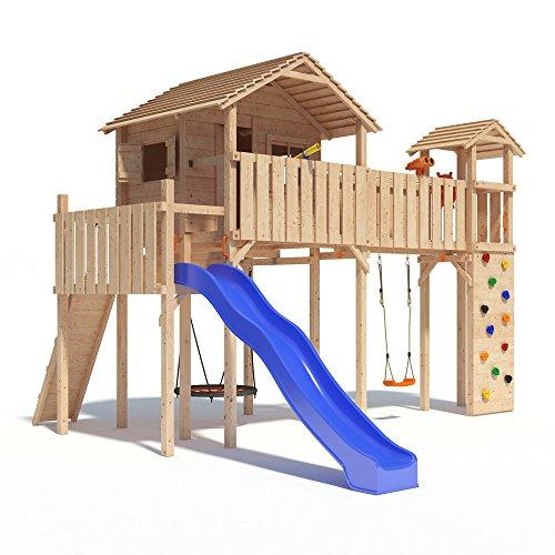 PONTICULUS XXL-Spielturm Baumhaus mit Rutsche, Schaukel, Kletterwand, Nestschaukel, Fernglas und großer Kletterwand auf 2,00 Meter Podesthöhe (Modell 2017) (Modell 2016)